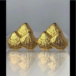VTG RARE BEN AMUN 24K GOLD PLATE LARGE CLIP ONS